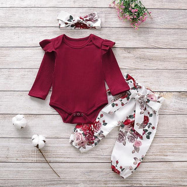 Newborn Baby Girl Clothes Cotton Romper Tops Flower Pants Headband Outfits Set