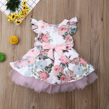Newborn Baby Girls Dress Flower Lace Tutu Infant Girl Party Dress