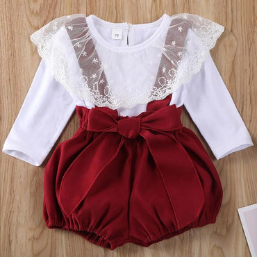 Baby Girl Lace Tops and Suspenders Shorts Cute Clothes Outfit Set