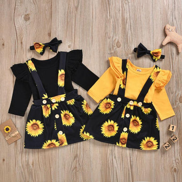 Newborn Baby Girl Sunflowers Skirt and Cotton Romper Outfit Set