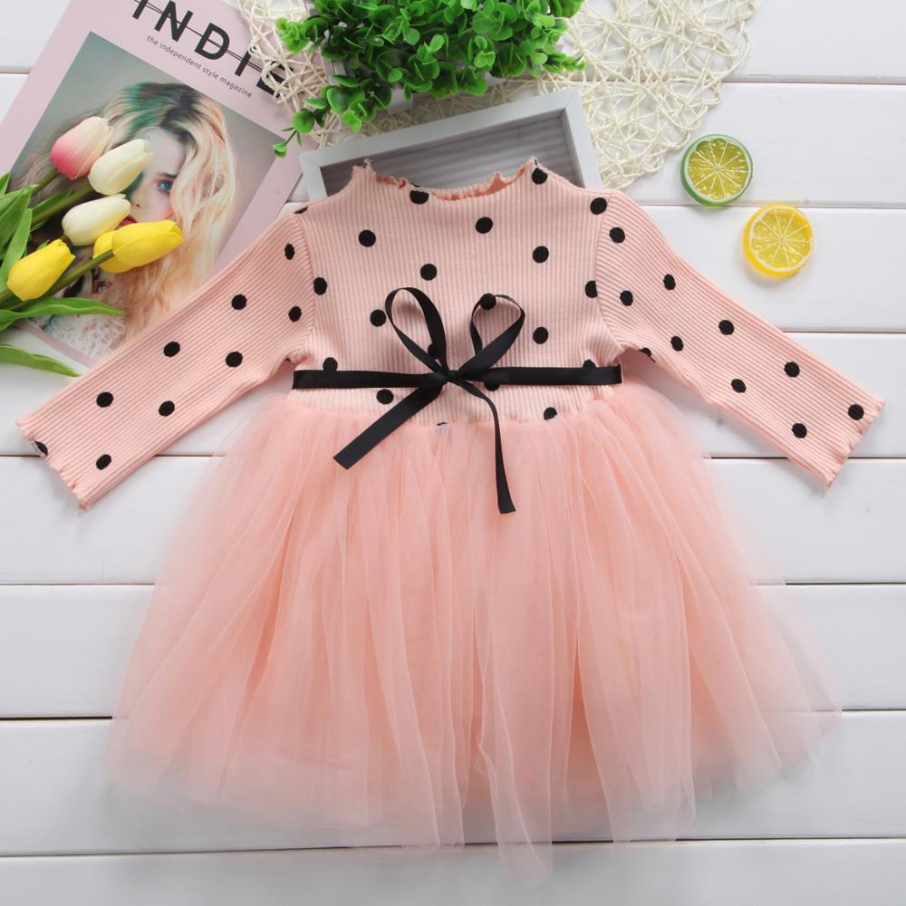 Baby Girl Princess Dress Bow Dot Tutu Ball Gown Infant Girl Party Dress