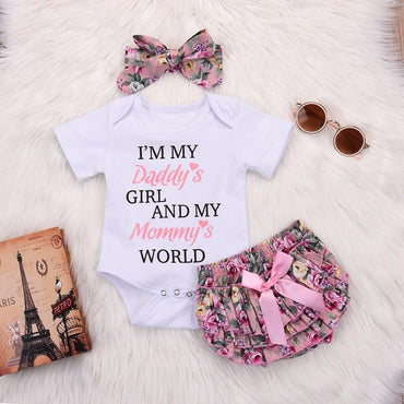 Newborn Baby Girl Romper with Floral Shorts and Headband Outfit Set
