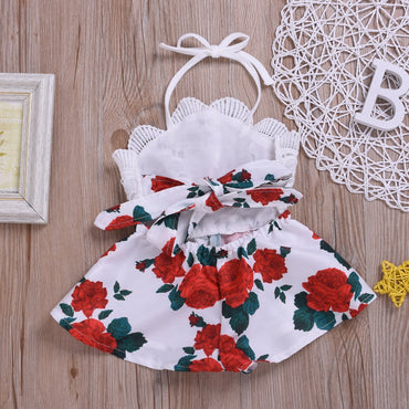 Newborn Baby Girl Clothes Sleeveless Lace Flower Romper Baby One-Piece Outfit