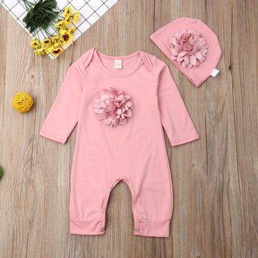 Newborn Baby Girls Onesie Set Flower Rompers and Hat Infant Girl Outfit Set