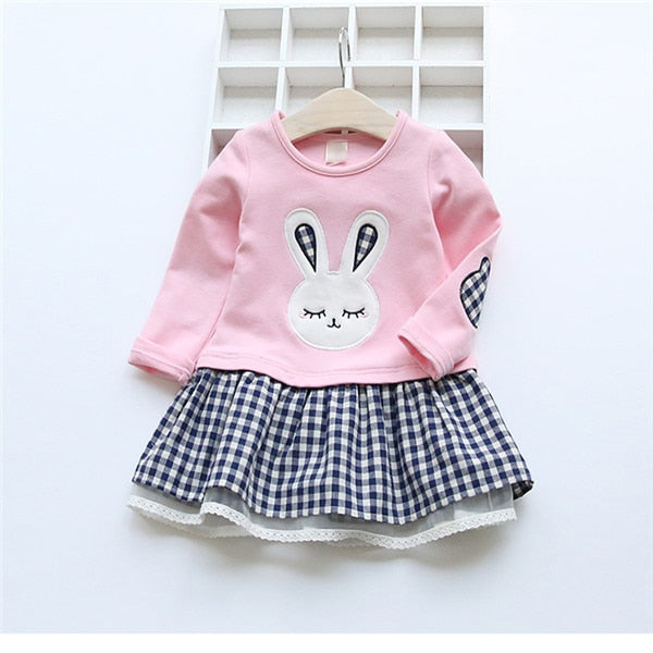 Toddler Girls Long Sleeve Cartoon Embroiderie Bunny Princess Dress
