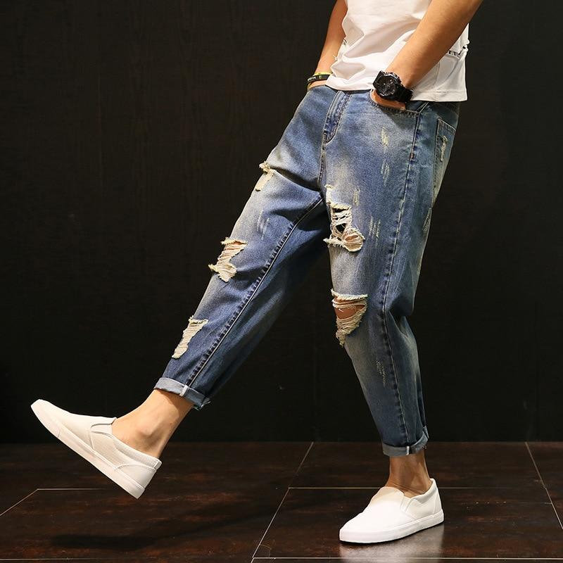 Brand Fashion Men Slim Fit Zipper Hip hop Holes Jeans