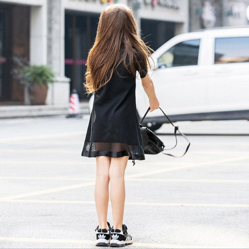 Lovely Girls Dress Love Applique Casual Dress