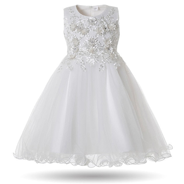 Toddler Girls Party Dress Pearls Ball Gown Tulle Elegant Dress