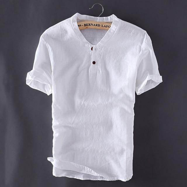 New Arrival Loose Cotton Linen Short Sleeve Tshirt