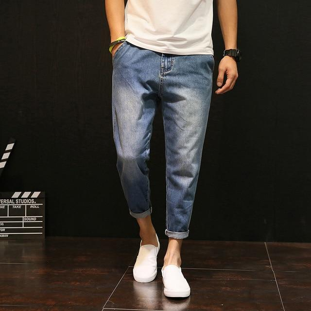Fashion Men Harem Pants New Loose Solid Washed Ankle-Length Jeans