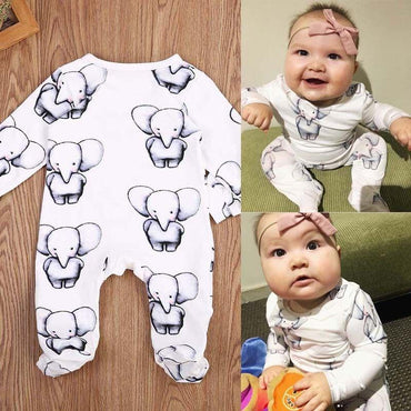 Cute Newborn Baby Boy Girl Cotton Clothes Babies Little Elephant Romper