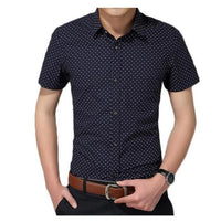 Men Fashion Polka Dot Cotton Short Sleeve Shirt
