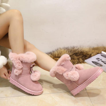 Woman Winter Boots Round Toe Yarn Elastic Thick Heel Warm Fur