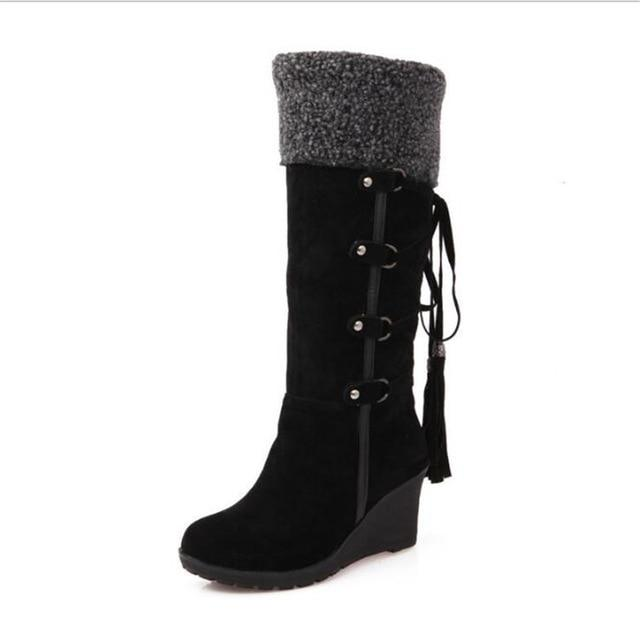 Women Winter Boots New Fashion Wedges Mid-Calf Casual Lace-up Boots