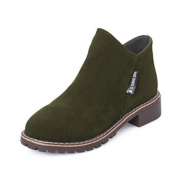 Women Martin Boots Autumn Winter Classic Zipper Suede Warm Fur Plush