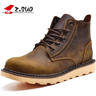 Men Boots Top Brand Design Winter Warm Fur Genuine Leather Boots