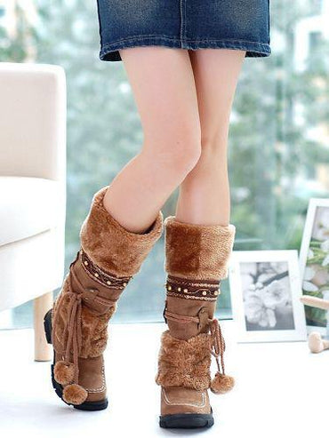 Beautiful Women Mid Calf Boots Winter Warm Tassel Plush Fringe Creepers Block Heels