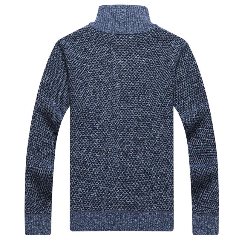 Men Sweater Warm Thick Velvet Cashmere Fashion Zipper Mandarin Collar