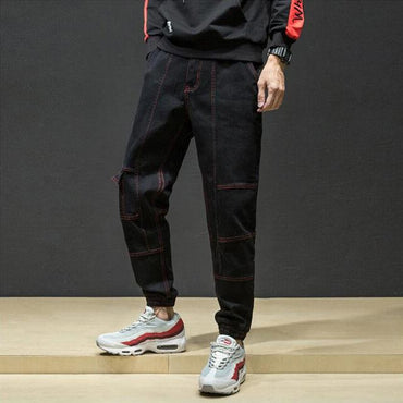 High Street Fashion Men Jogger Jeans Spliced Punk Cargo Stretch Pencil Jeans