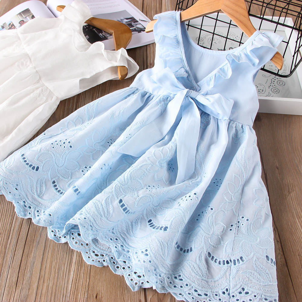 Toddler Girl Ruffles Drawstring Bow Embroidery Sleeveless Dress