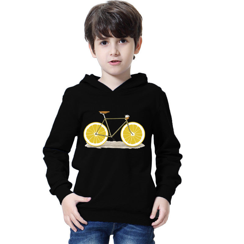 Boys Creative Hoodie Fashion Fruit Bicycle Pullover