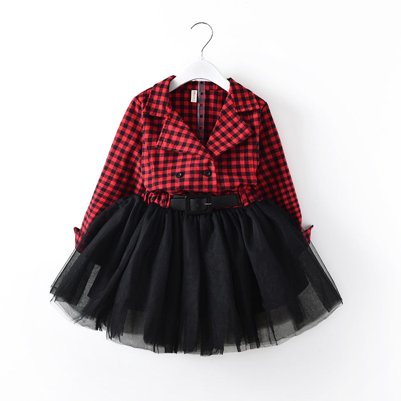 Toddler Girl Plaid Party Tutu Dress Long Sleeve Pageant Dress