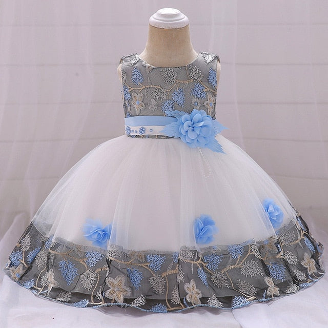Toddler Girls Dress Lace Tulle Baptism Beading Appliqued Party Dress