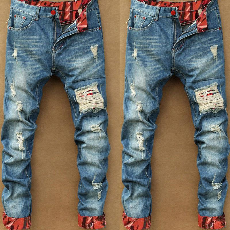 Men Jeans  Retro Hole Ankle-Length Ripped Fashion Jeans