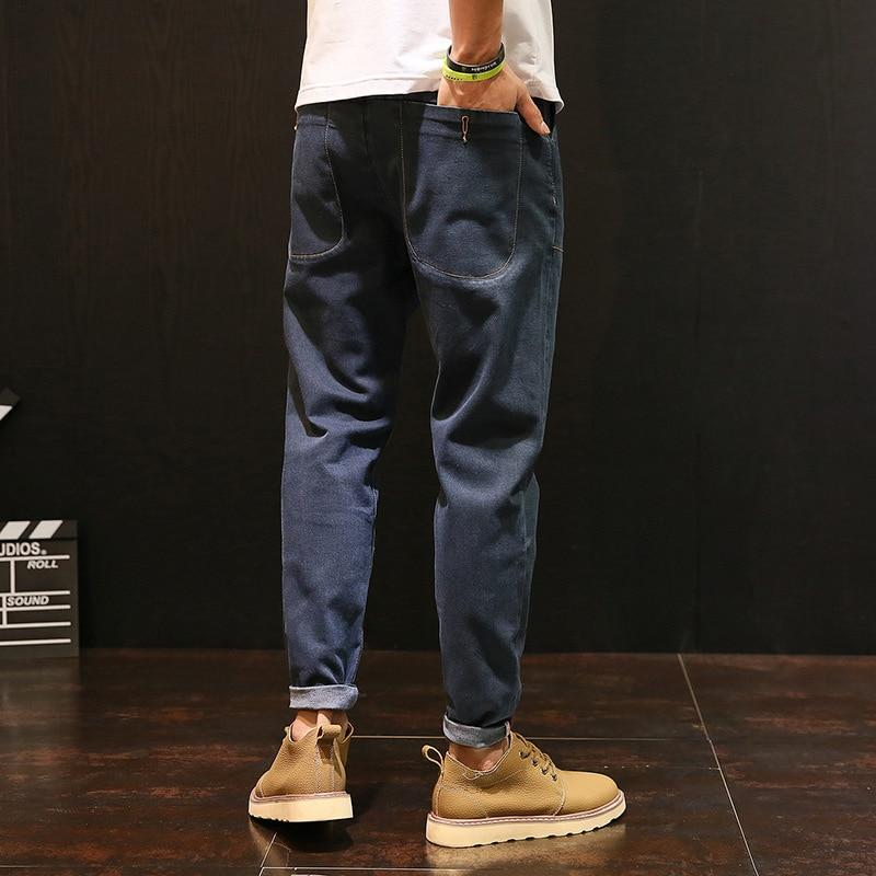 Men Jeans Vintage Solid Color Ankle-Length Top Brand Designer