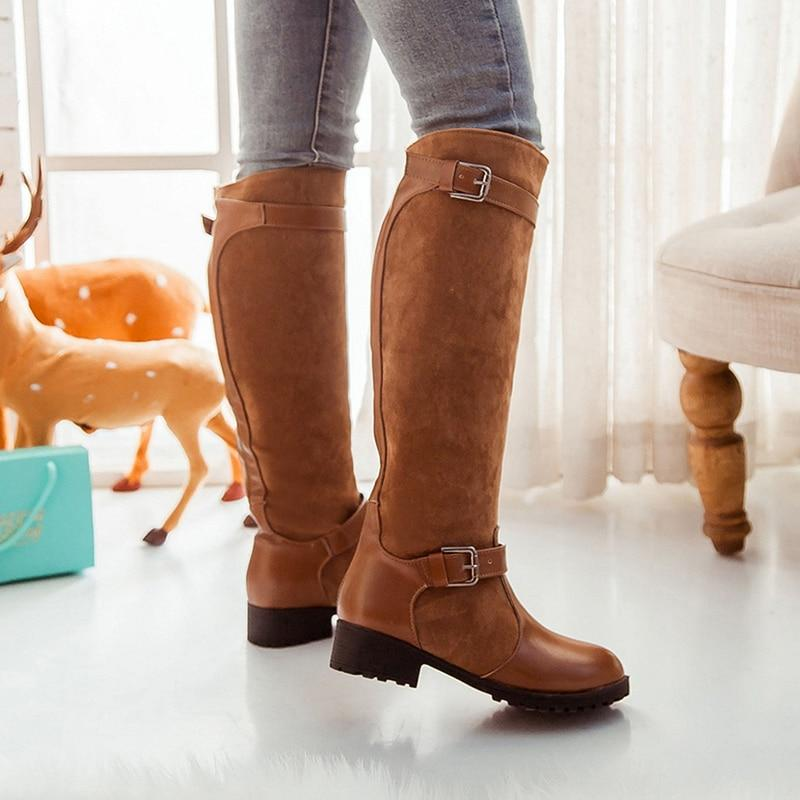 New Design Women High Knee Boots Fashion Square High Heels With Buckle