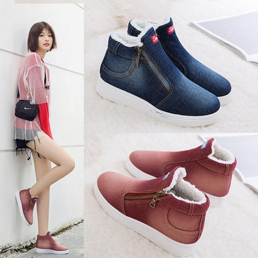 Cute Women Winter Boots Super Warm Cowboy Fashion Style Platform Ankle Boots