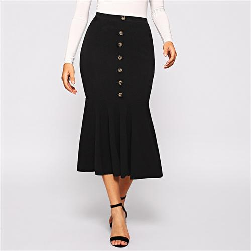 Women Black Elegant Button Front Ruffle Fishtail Hem Women Bodycon Skirt