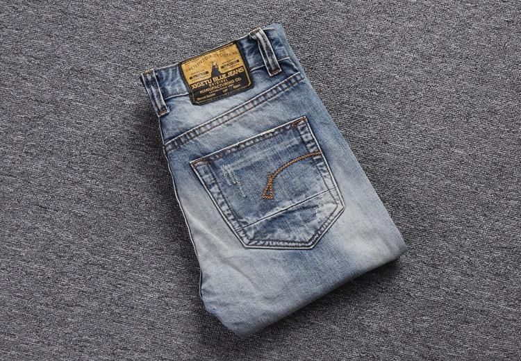 Fashion Streetwear Men Jeans Slim Fit Destroyed Ripped Embroidery Patch Design Vintage Jeans