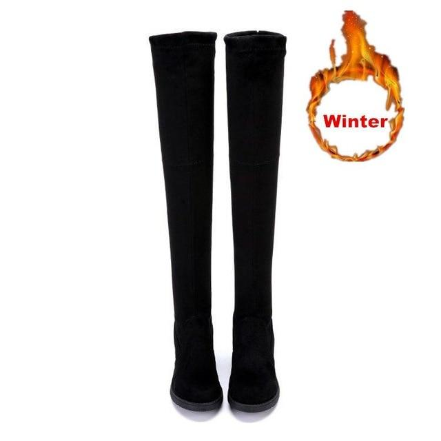 Women Over The Knee Boots Stretch Fabric Thigh High Sexy Lace Up Flat Long Booties