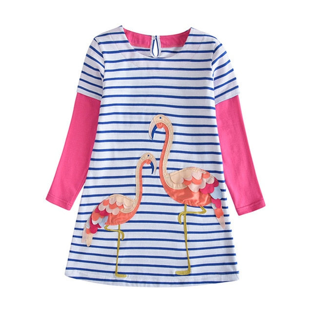 Kids Girl Dress Flamingo Cartoon Embroidery Cotton Tutu Dress