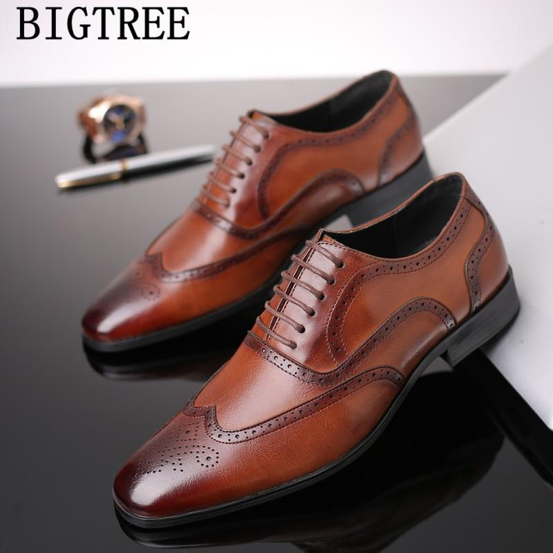 Men dress shoes genuine leather vintage elegant luxury brand brogue oxford shoes