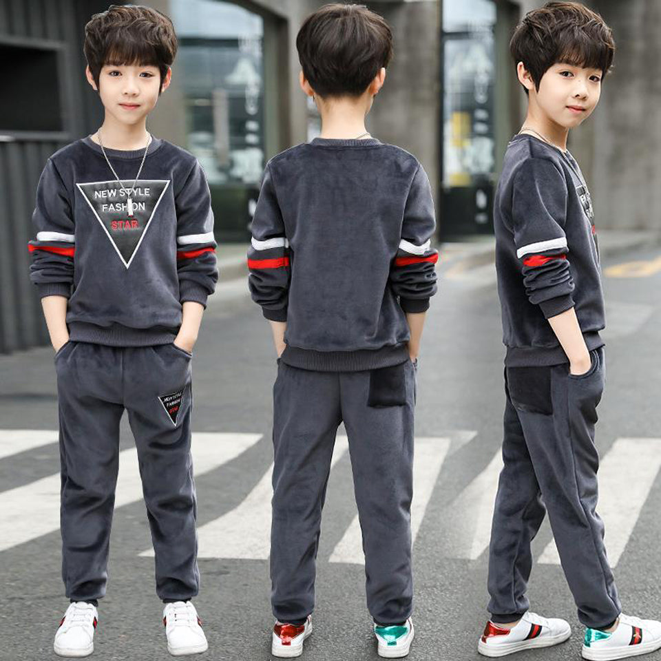 Sporty Style Boy Clothes Sets Cotton T-Shirt and Pants Outfit Sport Suit