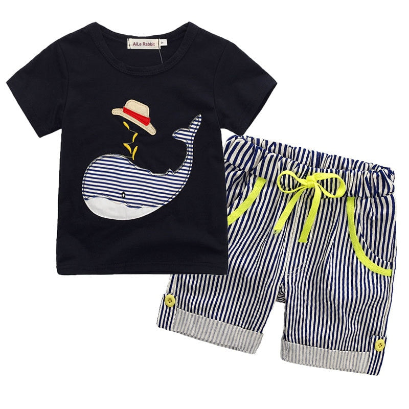 High Quality Cotton Toddler Boys Clothing Set Cute Animals T-Shirt and Denim Pants