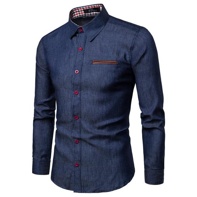 New fashion brand design men's long-sleeve denim shirt