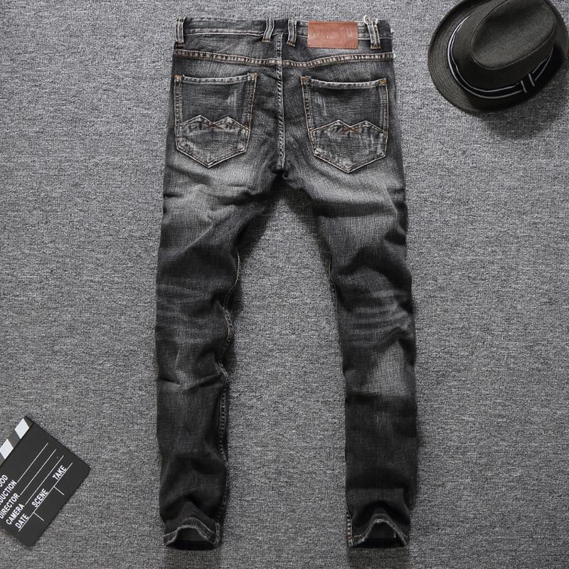 Fashion Men Jeans Classic Style Slim Fit Ripped Stretch Biker Jeans