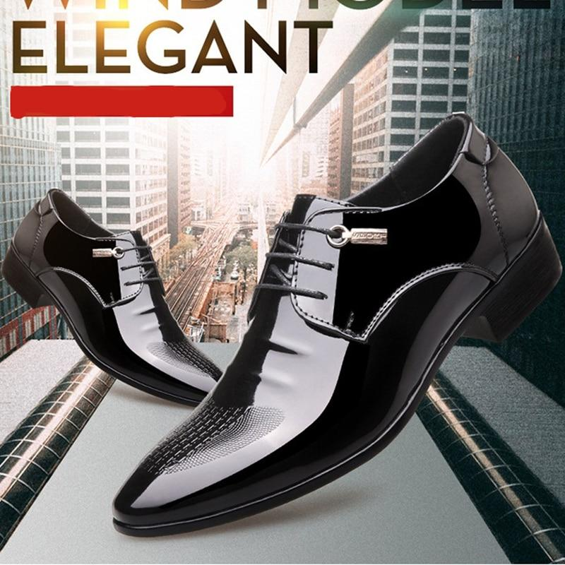 Men formal oxford shoes genuine leather italian design pointed toe dress shoes