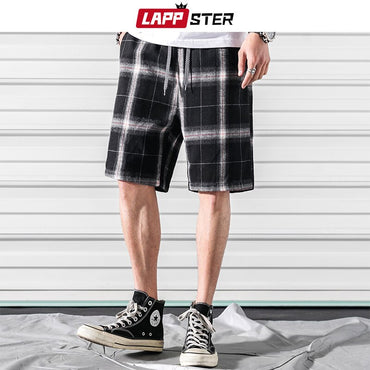 Men Plaid Joggers Short Streetwear Hip Hop Style