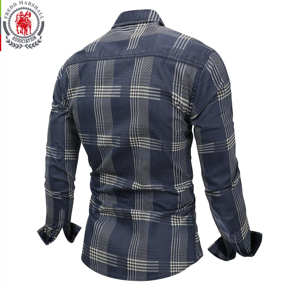 Fashion Design Men Long Sleeve Patchwork Plaid Shirt