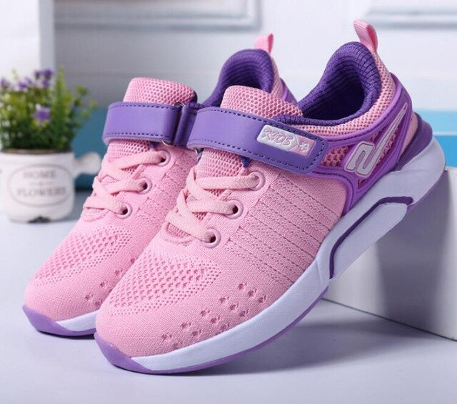 Girls Flat Running Sneakers Breathable Mesh Soft Shoes