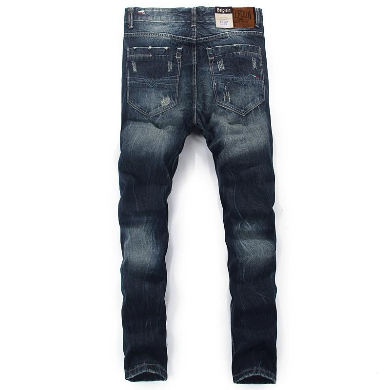Fashion Classical Mens Jeans  Retro Vintage Straight Fit Ripped Jeans