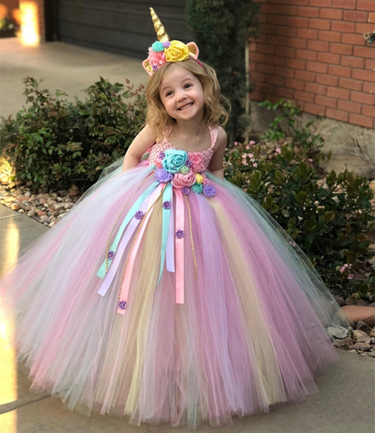 Toddler Girls Pastel Unicorn Flower Crochet Tulle Strap Dress Ball Gown