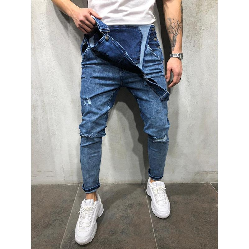 Men Casual Denim Strap Jumpsuit Loose Fitting Sleeveless