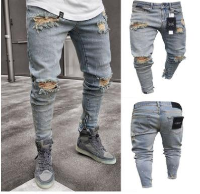 Men's Skinny Slim Fit Straight Ripped Distressed Pleated Knee Hole Jean