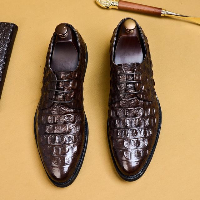 Luxury Men Dress Shoes Crocodile Pattern Genuine Leather Pointed Toe Lace Up Formal Shoes