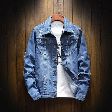 Men Denim Jacket Trendy Fashion Hip Hop Streetwer Ripped Jean Jacket